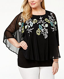 Alfani Plus Size Embroidered Cape Top, Created for Macy's