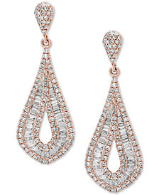 Classique by EFFY® Diamond Baguette Drop Earrings (1-1/2 ct. t.w.) in 14k Rose Gold