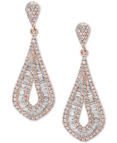 Classique by EFFY® Diamond Baguette Drop Earrings (1-1/2 ct. t.w.) in 14k Rose Gold