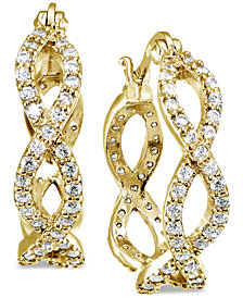 Giani Bernini Cubic Zirconia Infinity Hoop Earrings in 18k Gold-Plated Sterling Silver, Created for Macy's
