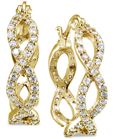 Giani Bernini Cubic Zirconia Infinity Hoop Earrings In 18k Gold Plated Sterling Silver Created