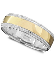 Men's 14k Gold and 14k White Gold Ring, Milgrain Edge (Size 6-13)