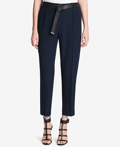 Calvin Klein Belted Straight-Leg Pants