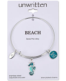 "Unwritten ""Seas the Day"" Seahorse Charm Adjustable Bangle Bracelet in Stainless Steel"