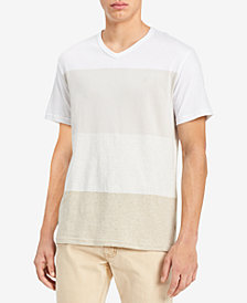 Calvin Klein Jeans Men's Heather Colorblocked V-Neck T-Shirt