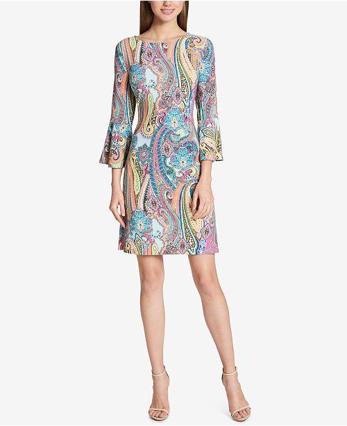 ef0fbcbd7 Tommy Hilfiger Paisley Bell-Sleeve Dress   Reviews - Dresses ...