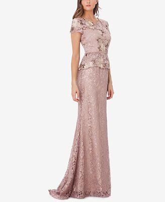Js Collections Lace Peplum Gown Dresses Women Macy S