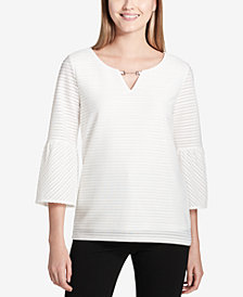 Calvin Klein Textured Embellished Bell-Sleeve Top
