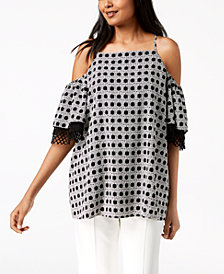 Alfani Printed Cold-Shoulder Top, Created for Macy's