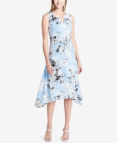 Calvin Klein Printed Keyhole Midi Dress