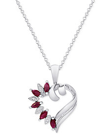 "Ruby (5/8 ct. t.w.) & Diamond Accent 18"" Pendant Necklace in Sterling Silver"