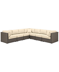 South Harbor Outdoor 7-Pc. Modular Seating Set (3 Corner Units & 4 Armless Units), with Custom Sunbrella® Colors, Created for Macy's