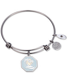 "Unwritten ""Life's A Beach, Enjoy the Waves""  Charm Adjustable Bangle Bracelet in Stainless Steel"