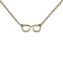 "Unwriiten Novelty Glasses Pendant Necklace in Gold-Flashed Sterling Silver, 16""+2"" extender"