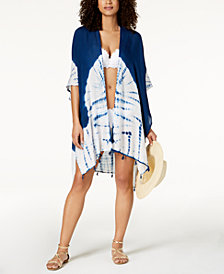 Raviya Tie-Dyed Tasseled Kimono Cover-Up