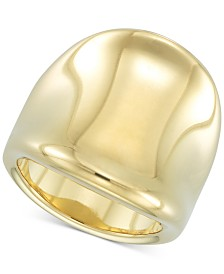 Signature Gold™ Diamond Accent Curved Concave Ring in 14k Gold over Resin