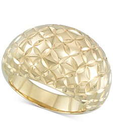 Textured Dome Ring in 14k Gold  over Resin