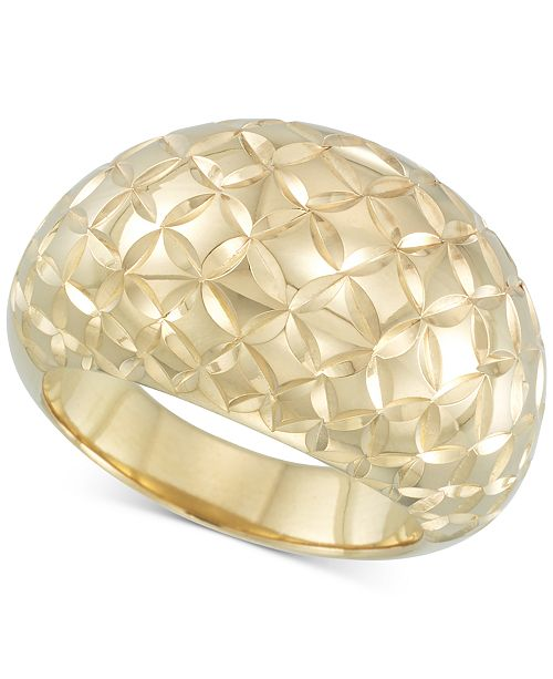 Signature Gold Textured Dome Ring in 14k Gold  over Resin