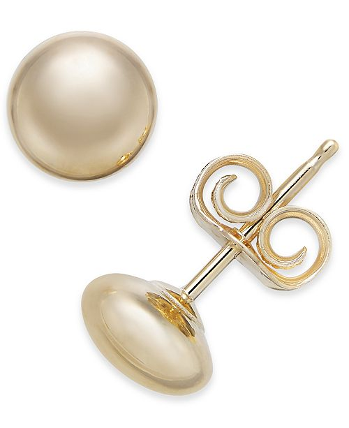 Macy's 14k Gold Earrings, Flat Ball Stud (5mm)