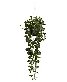 Nearly Natural Philodendron Plant Hanging Basket