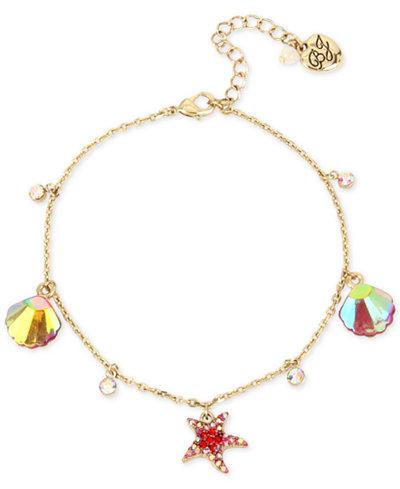 Betsey Johnson Gold-Tone Sea-Themed Charm Ankle Bracelet