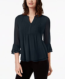 Charter Club Petite Pleated Bell-Sleeve Top, Created for Macy's