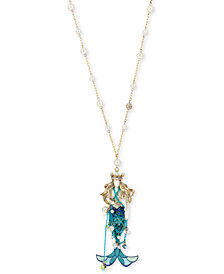 "Betsey Johnson Two-Tone Pavé & Imitation Pearl Mermaid Pendant Necklace, 28-1/2"" + 3"" extender"