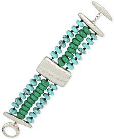 Robert Lee Morris Soho Silver-Tone Beaded Triple-Row Bracelet