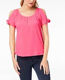 I.N.C. Petite Cold-Shoulder Bows Top, Created for Macy's