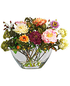 Nearly Natural Peony Flower Arrangement with Glass Vase