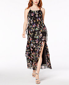 Bar III Floral Print Ruffled Maxi Dress, Created for Macy's