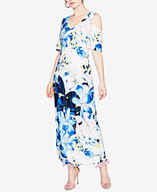 RACHEL Rachel Roy Printed Cold-Shoulder Maxi Dress