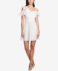 GUESS Asymmetrical Lace Fit & Flare Dress