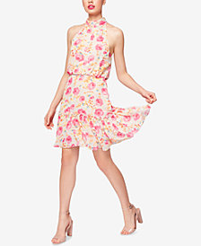 Betsey Johnson Floral-Print Mock Neck Dress
