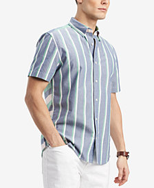 Tommy Hilfiger Men's Calvin Classic Fit Striped Shirt, Created for Macy's