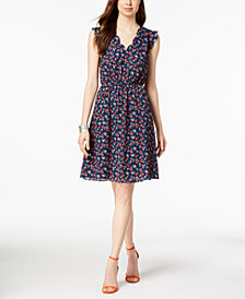 Monteau Petite Floral-Print Scalloped Dress, Created for Macy's
