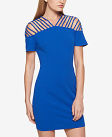 GUESS Strappy Scuba Crepe Dress