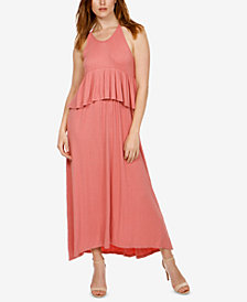 Lucky Brand Ribbed Flounce Maxi Dress
