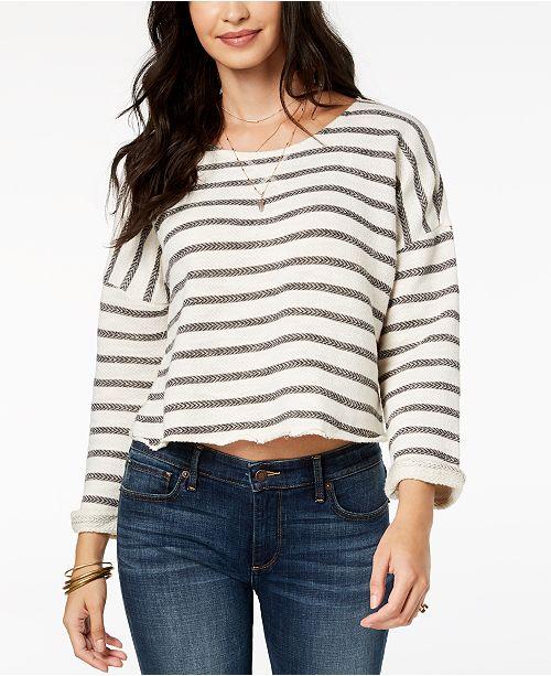 Lucky Brand Striped Cutout Sweatshirt