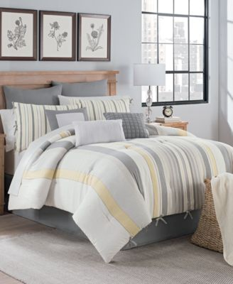 Magnolia Stripe 10-Pc. Queen Comforter Set