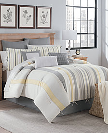 Magnolia Stripe 10-Pc. Queen Comforter Set