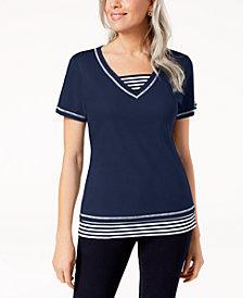 Karen Scott Layered-Look T-Shirt, Created for Macy's