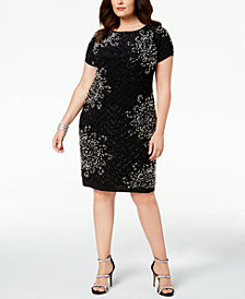 Betsy & Adam Plus Size Embellished Sheath Dress
