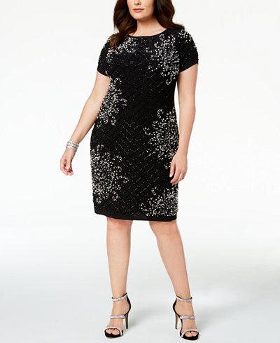 Betsy & Adam Plus Size Embellished Sheath Dress