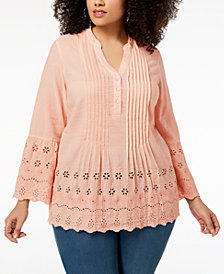 Style & Co Plus Size Cotton Pintuck Eyelet Top, Created for Macy's