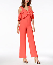 Trina Turk Josephine Ruffled Cold-Shoulder Jumpsuit