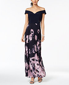 XSCAPE Pleated Off-The-Shoulder Gown, Regular & Petite Sizes