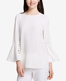 Calvin Klein Button-Detail Bell-Sleeve Top