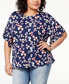 Eyeshadow Trendy Plus Size Printed Flutter-Sleeve Top