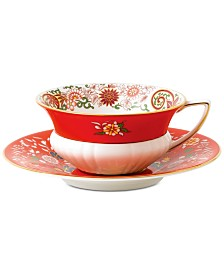 Wedgwood Wonderlust Crimson Orient  Teacup & Saucer